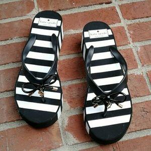 Kate Spade NY B/W Striped Platform Flip Flops